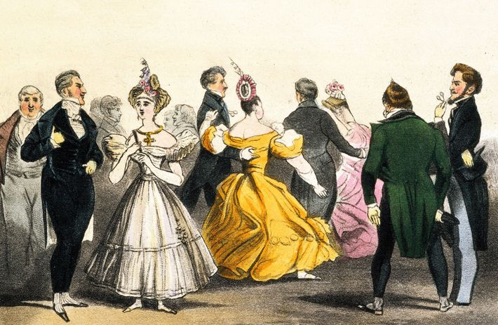 At a ball Brummell often socialized with nobility. In this 19th-century color lithograph, Brummell (far left) ...