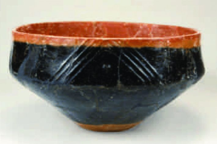 Red and black pottery like this circa 2500 B.C. bowl has been found in the Caucasus ...