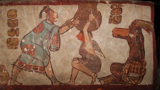 This painting from the ancient Maya city of Calakmul depicts the drinking of cacao.