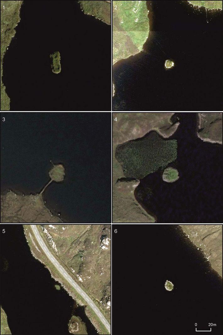 An aerial view of Scotland's stone-age artificial islands: 1) Arnish; 2) Bhorgastail; 3) Eilean Domhnuill (originally ...