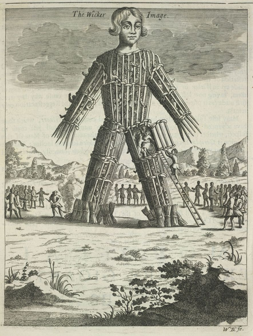 A 17th-century depiction of the Wicker Man, a Celtic practice alleged by Julius Caesar where victims ...