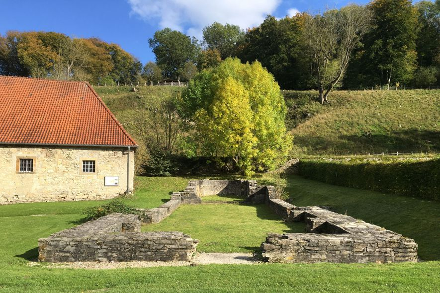 The foundations of the church associated with a medieval women's religious community in Germany, where the ...