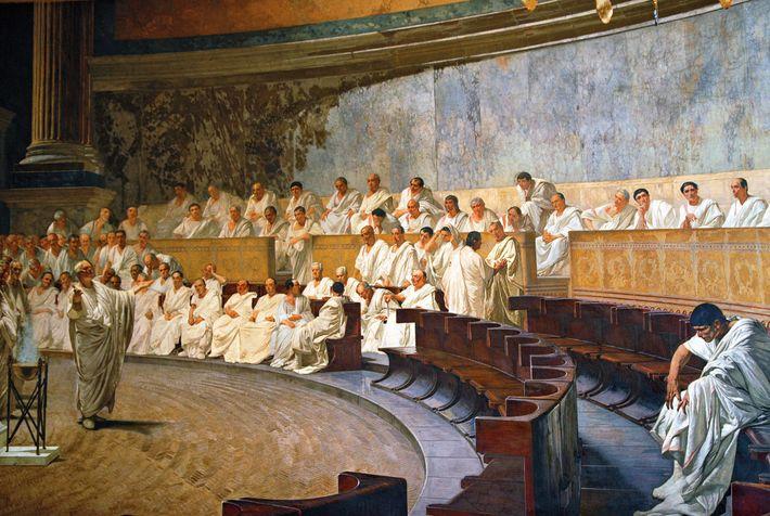 Depicted in a fresco by Cesare Maccari, Cicero denounces the Catilinarian conspiracy in the Roman Senate. ...