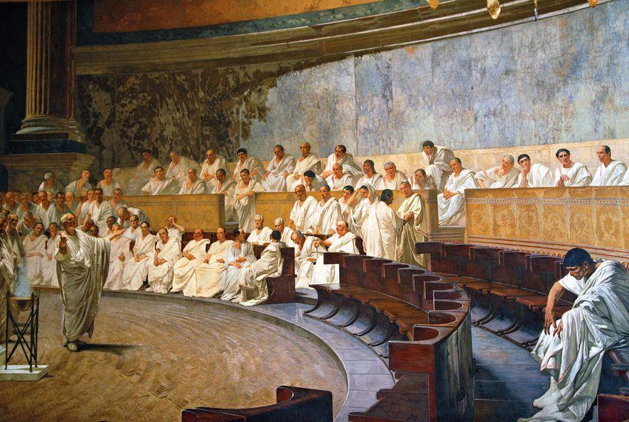 Depicted in a fresco by Cesare Maccari, Cicero denounces the Catilinarian conspiracy in the Roman Senate. Palazzo Madama, Rome