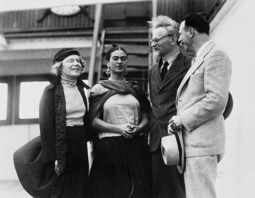 Russian Marxist revolutionary Leon Trotsky (second from right) and his second wife, Natalia Sedova (far left), ...