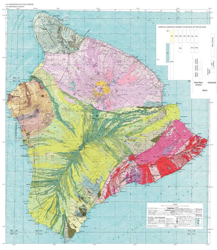 Hawaii's Mauna Kea volcano, shown in pink at the northern end of the Big Island on ...