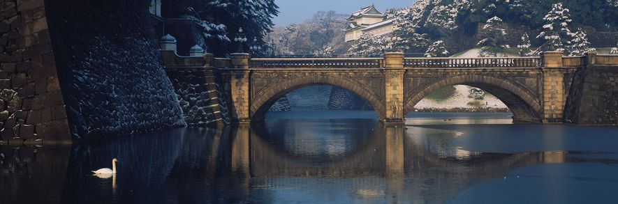 The royal palace is located on the hill behind Bridge Nijubashi in Tokyo.