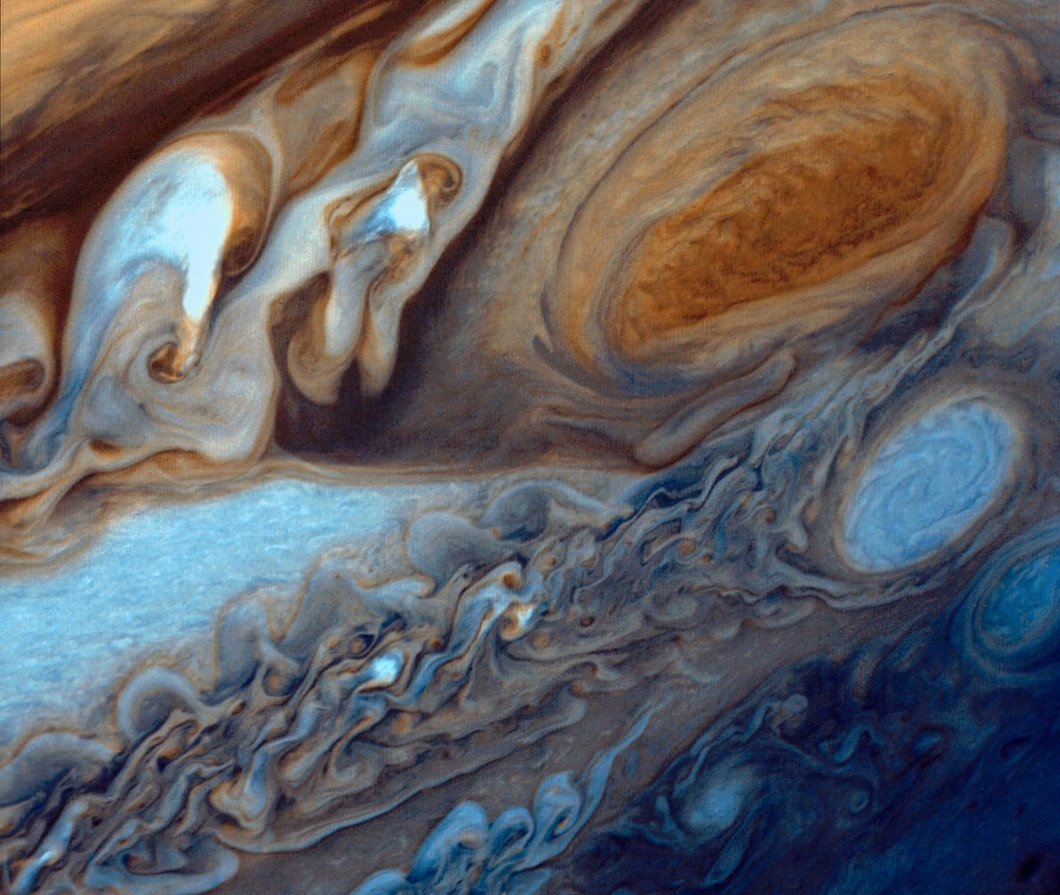 Jupiter's Great Red Spot is a massive storm 3.5 times the size of Earth. This colorized …