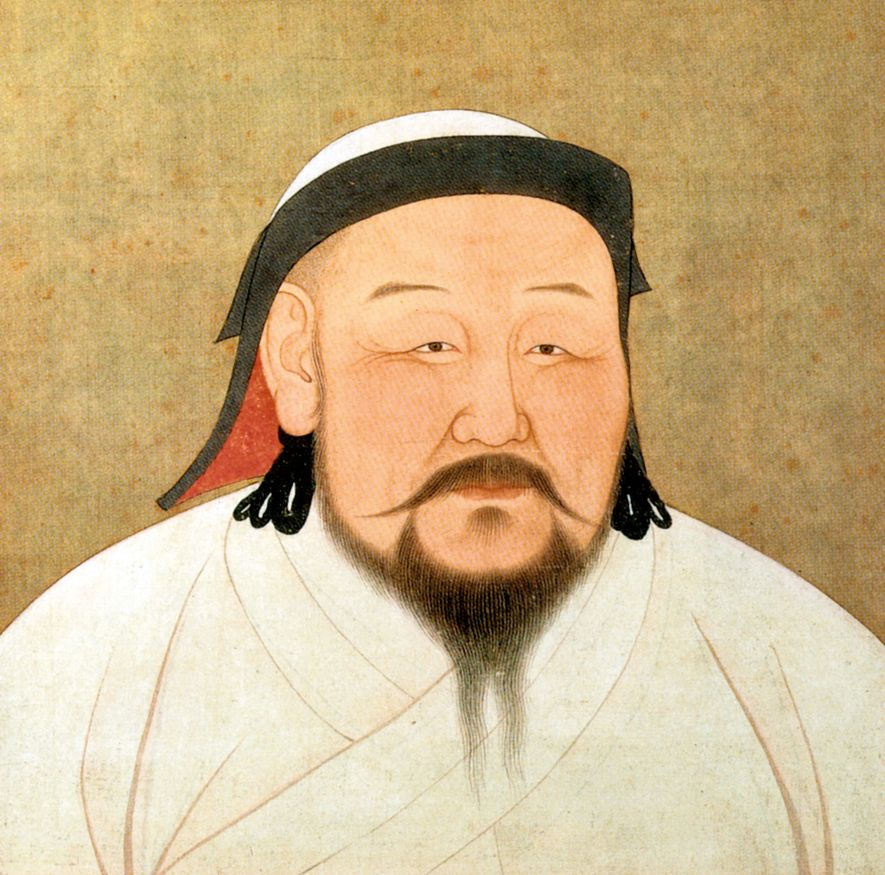 A portrait of Kublai Khan on silk, painted in 1294, shortly after his death. National Palace ...