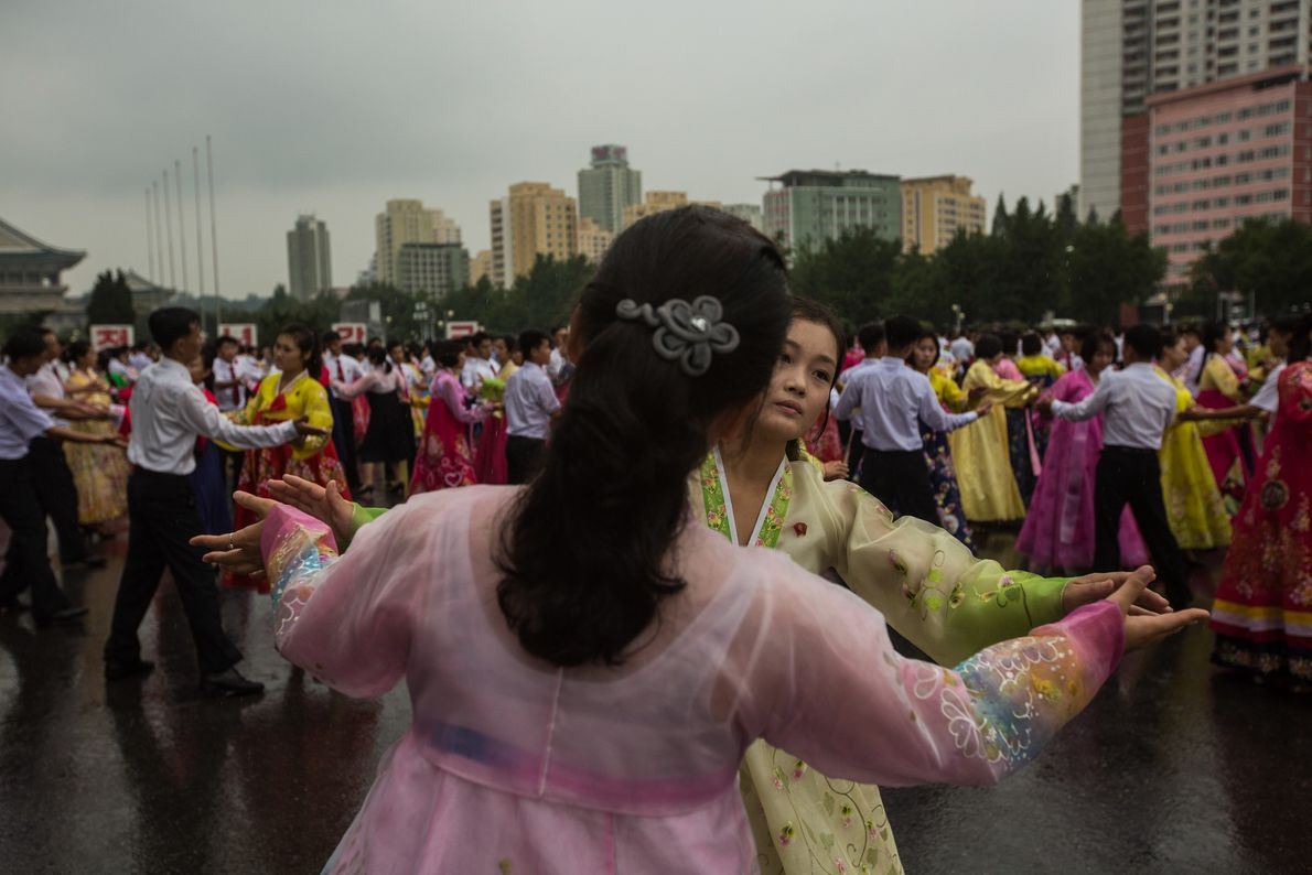 North Koreans practise traditional dancing at an event in Pyongyang.