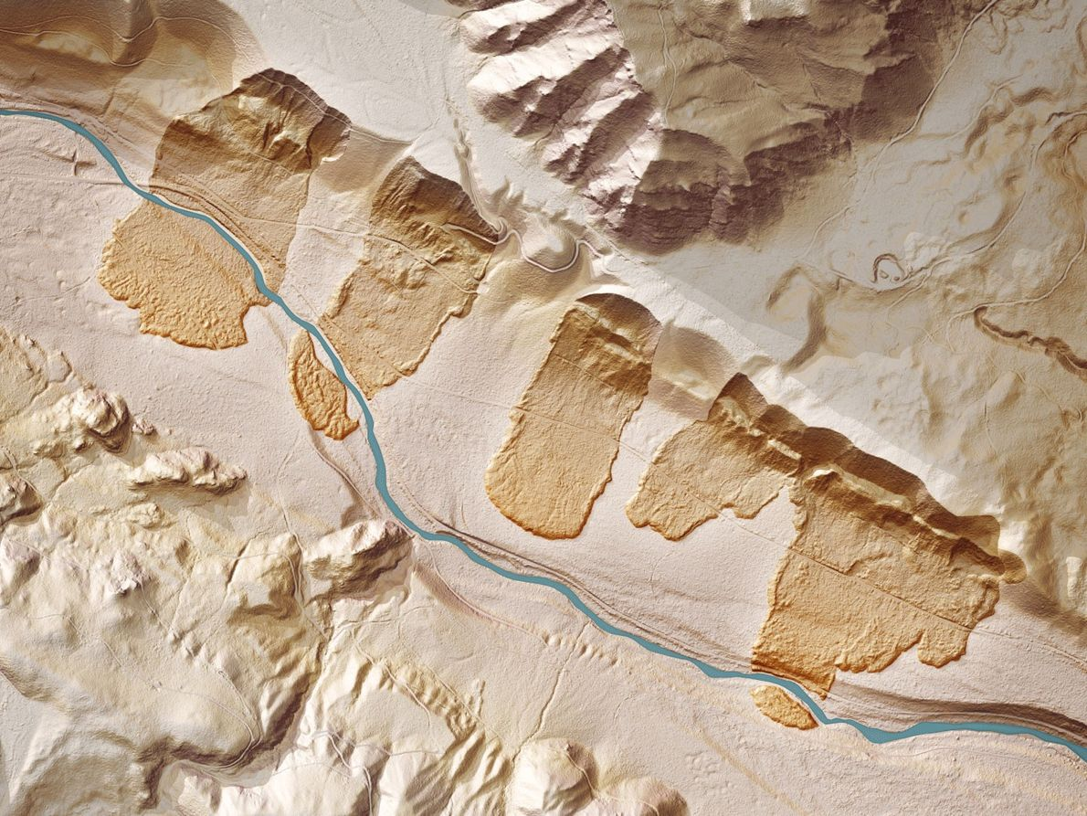 Old landslide scars on the Cedar River near Seattle are normally obscured by forest, but are ...