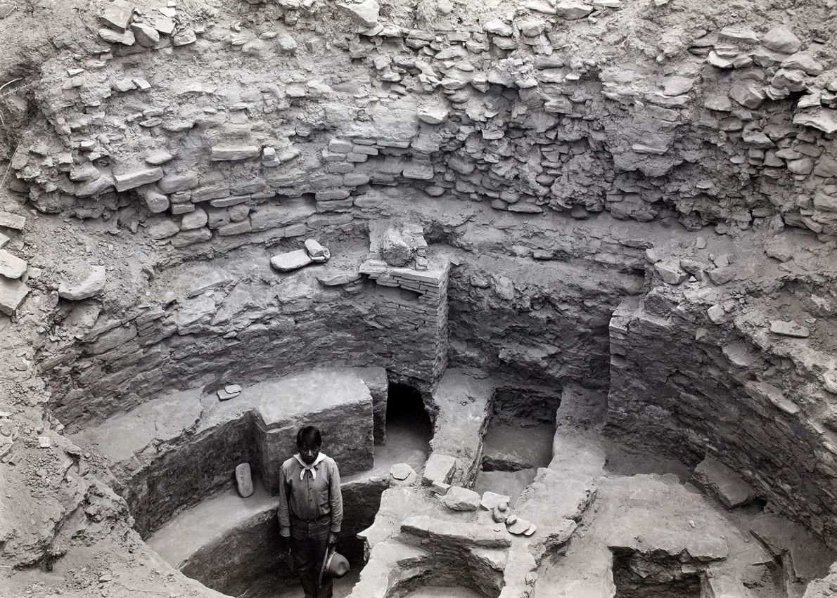 An excavated fireplace and ceremonial entrance at Pueblo Bonito.
