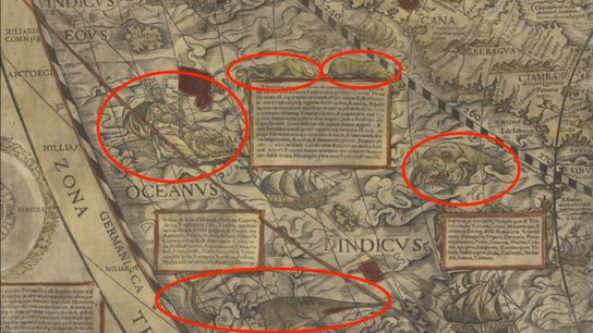 Sea monsters (circled) abound on this 1558 world map by Caspar Vopel.