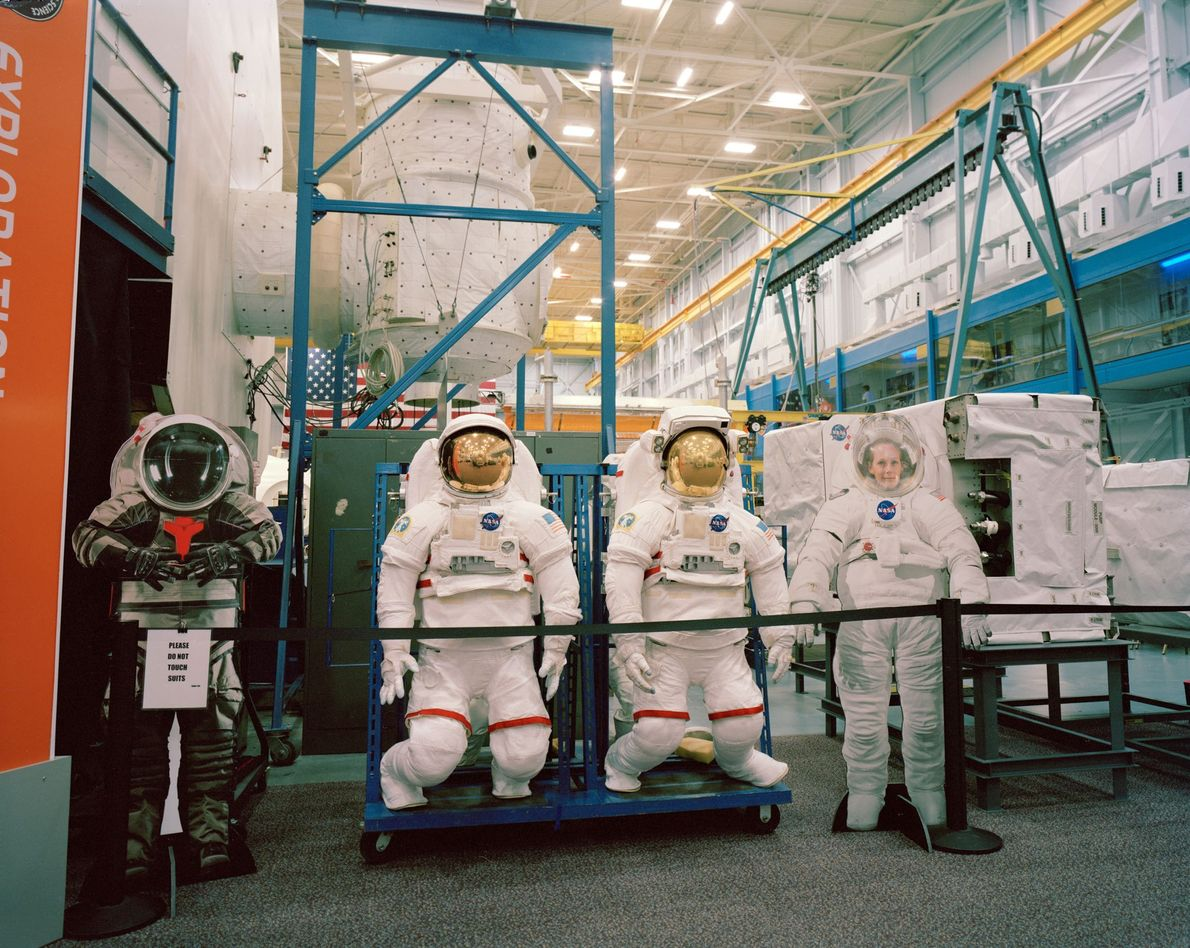 These spacesuit prototypes are kept at the Space Vehicle Mockup Facility at Johnson Space Center in ...
