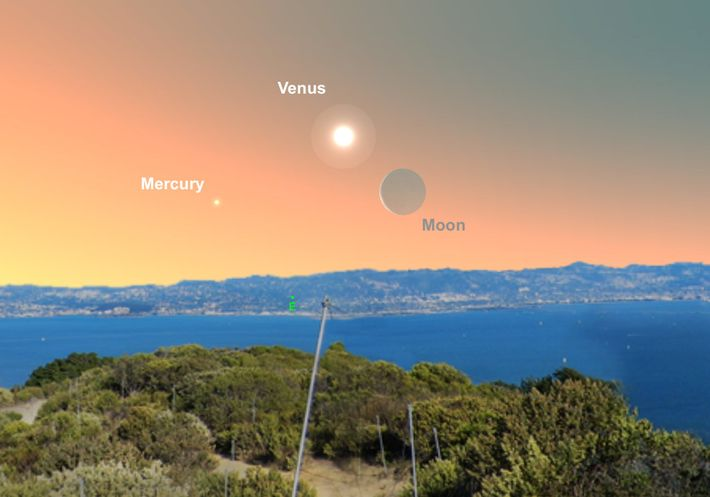 Look for Venus close to the crescent moon in the early morning of May 2.