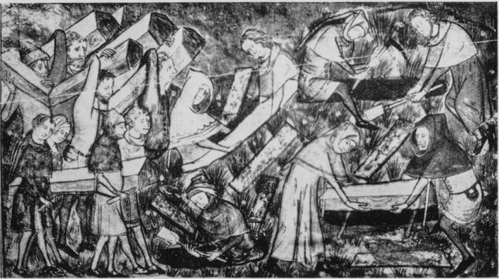 A 14th-century drawing depicts the burial of plague victims. German tales tell of nachzehrer (loosely translated ...