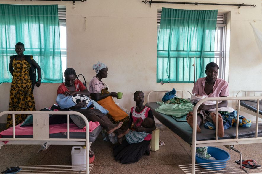 South Sudanese women spend time together in a maternity clinic in Northern Uganda.