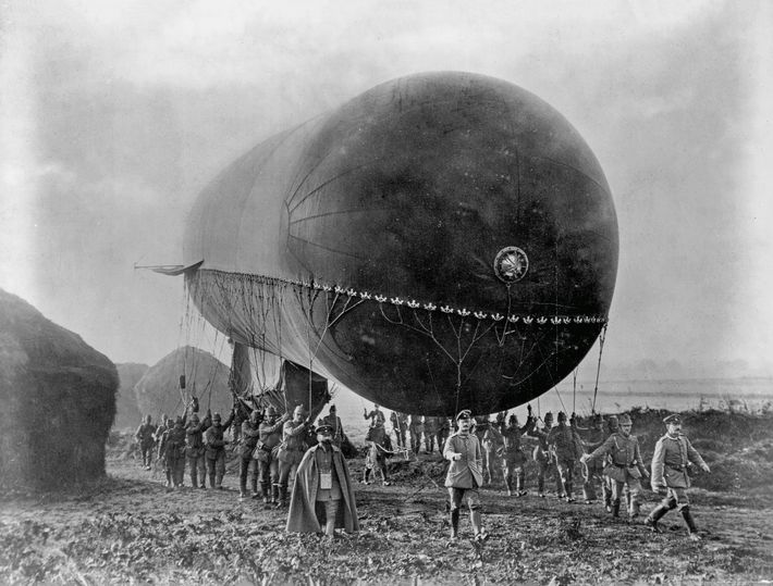 German troops carry an observation balloon in this undated image from early World War I. These ...