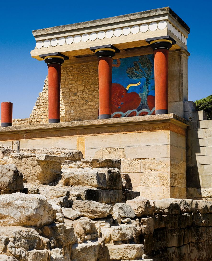 "Following his 1900-1903 excavation of Knossos, Arthur Evans restored the ""charging bull"" painted relief except for ..."