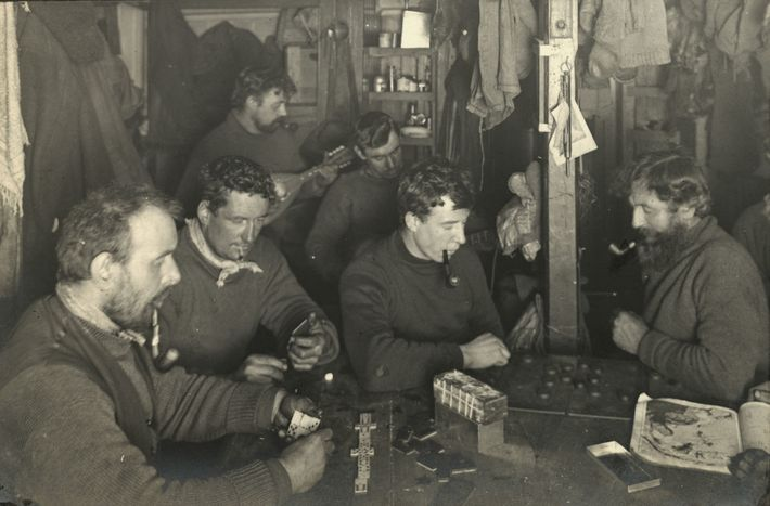 Life aboard Endurance during the long winter of 1915 included dominoes, checkers, pipe smoke, and the ...