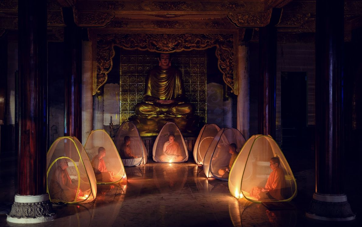 Your Shot photographer Tuan Nguyen photographed monks meditating in monasteries in Dong Nai, Vietnam. He writes, ...