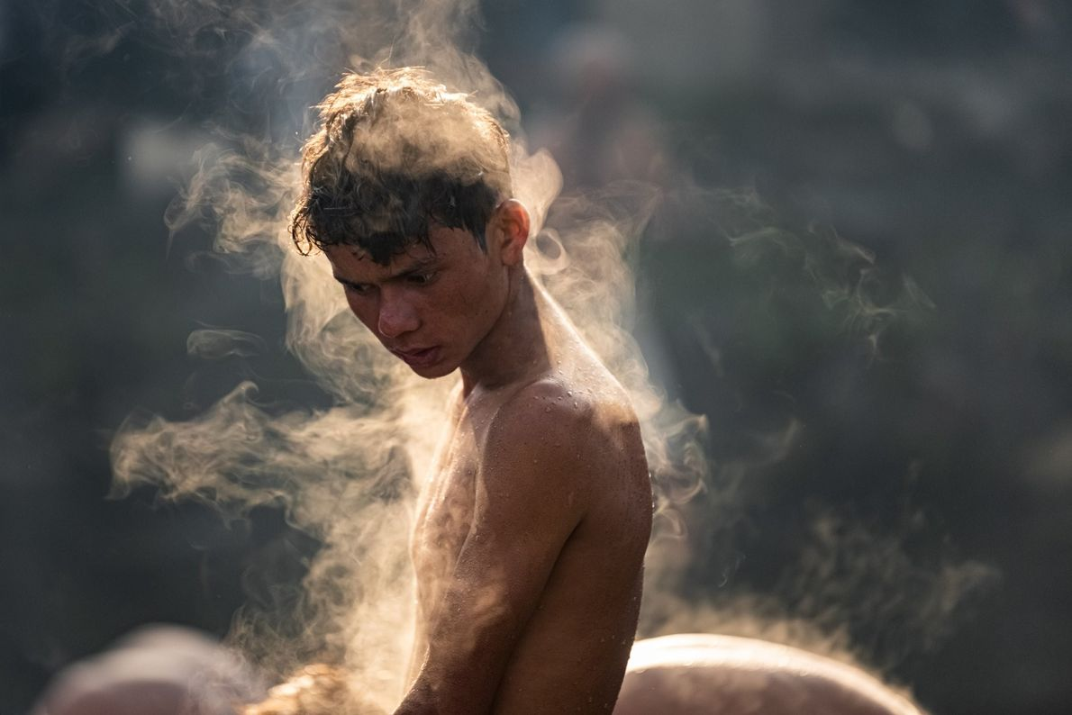 Your Shot photographer Ajay Maharjan documented this person as they emerged from a holy bath in ...