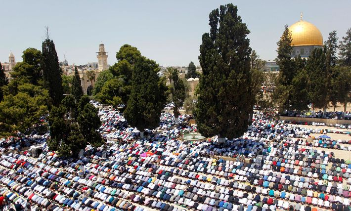 Muslim worshippers pray near the Dome of the Rock in Jerusalem's Al-Aqsa Mosque during Ramadan.