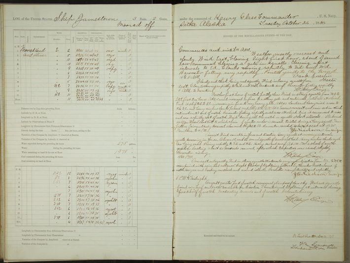 Logbook for the USS Jeannette, a ship that was imprisoned in ice for two years before ...