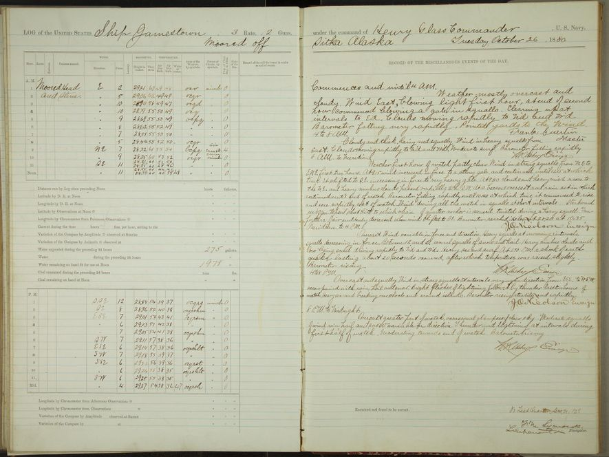Logbook for the USS Jeannette, a ship that was imprisoned in ice for two years before it sank. Its crew carried the log to safety.