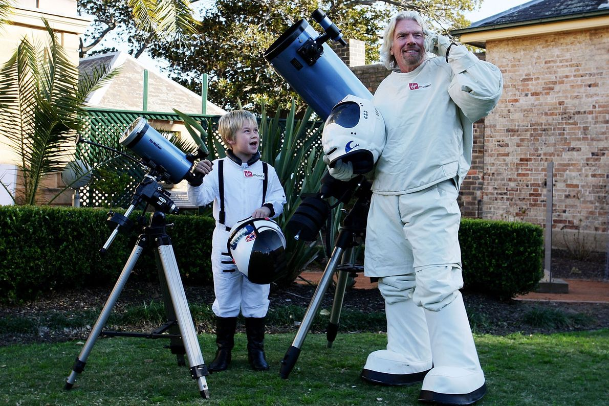 At an anniversary party in Australia for one of his companies, Richard Branson announced a competition ...