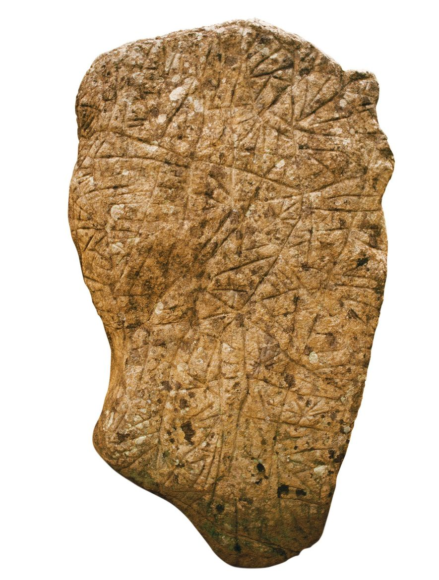 A stela from Teyuna whose grooves indicate the network of paths and stairways linking the site.