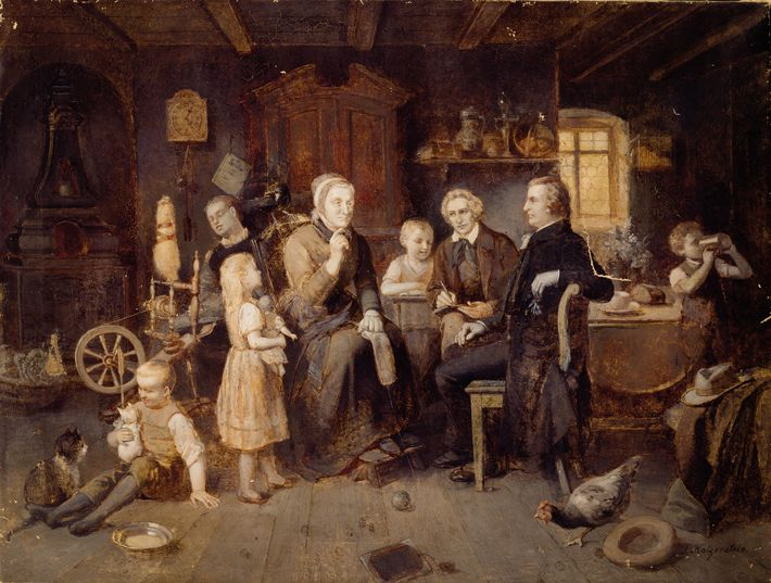 Dorothea Viehmann shares her stories with the Grimms. 19th-century oil painting by Louis Katzenstein
