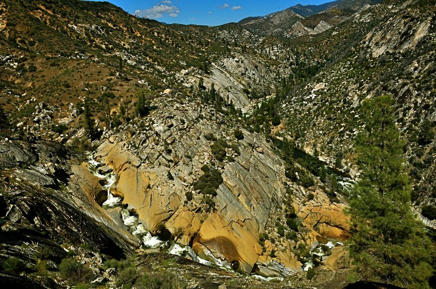 A wide view of the Seven Teacups waterfall in Sequoia National Forest.