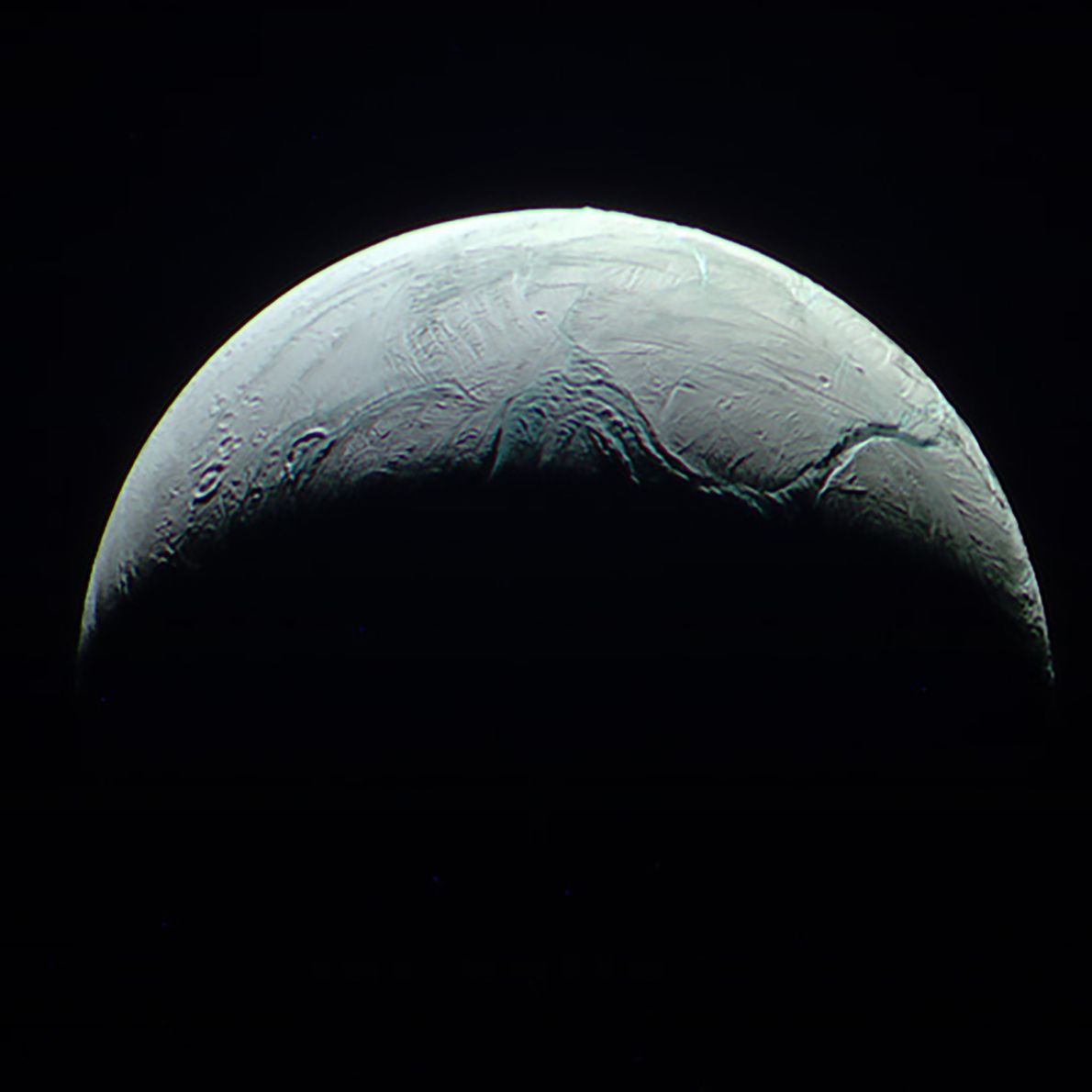 Cassini captured this detailed view of Saturn's icy moon Enceladus from a distance of about 112,000 ...