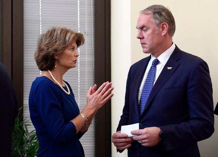 Senator Lisa Murkowski, R-Alaska, talks with Interior Secretary Ryan Zinke earlier this year. Both have been ...