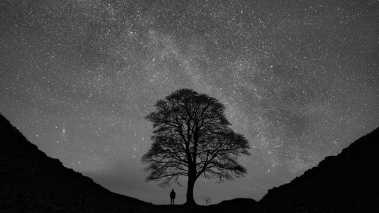 The Milky Way and Andromeda galaxies sparkle on a winter night at Hadrian's Wall in Northumberland, ...