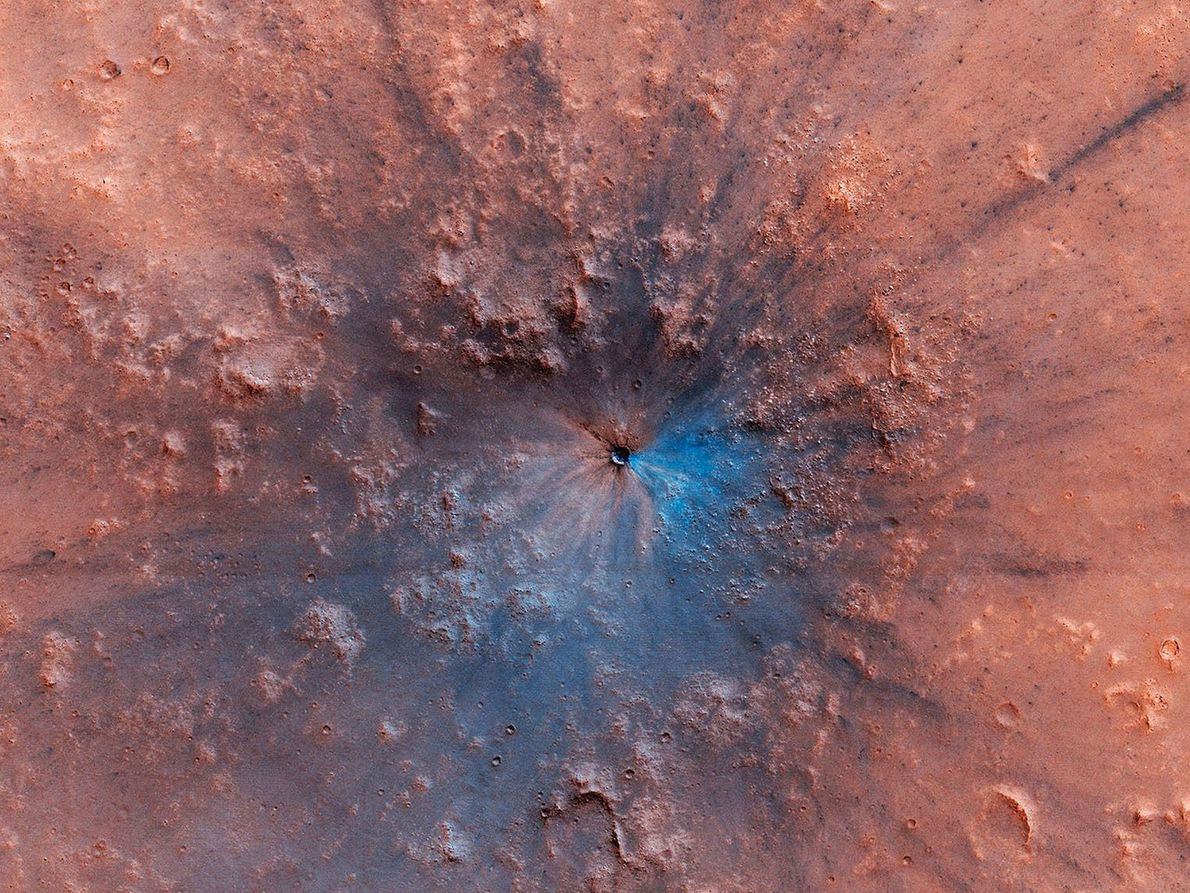 Turns out that the red planet also gets black and blue: This new false-color image from ...