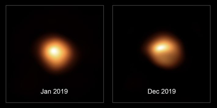 This comparison image shows the star Betelgeuse before and after its unprecedented dimming. The observations, taken ...