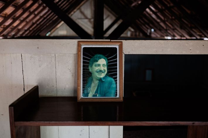 A photo of conservationist Chico Mendes, a rubber tapper gunned down in 1988 by local ranchers ...