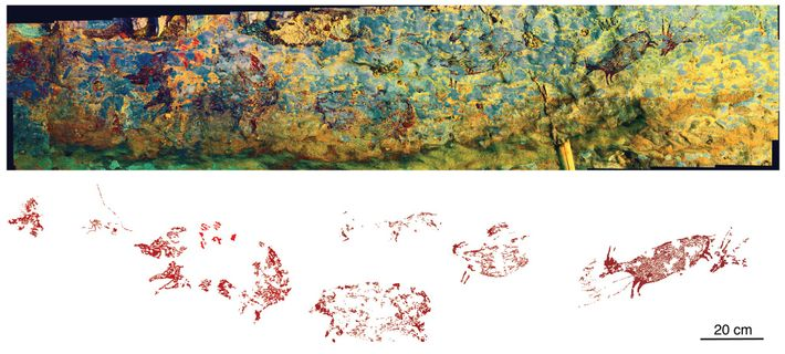 The rock art panel extends some eight feet across the back wall of Leang Bulu' Sipong ...