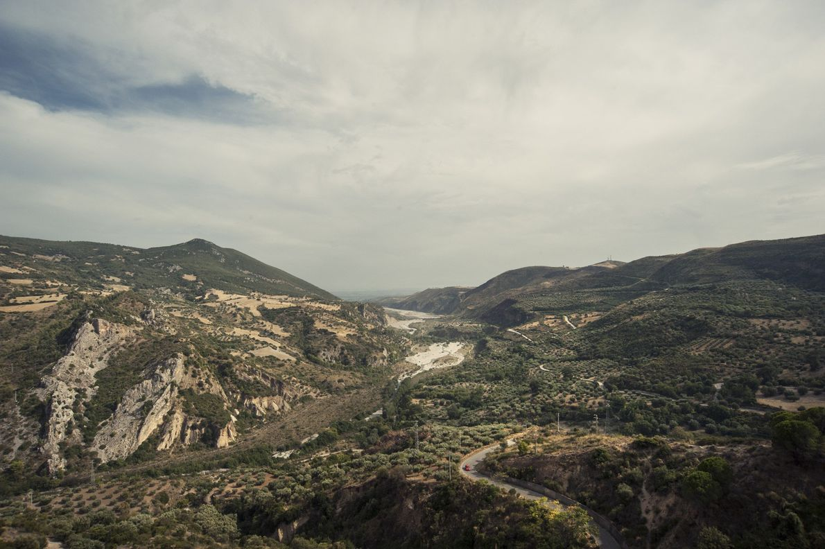 A landscape view of Pollino National Park shows how human development has encroached on the home …