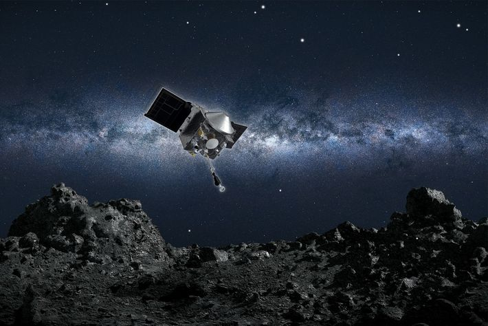 Artist's conception of NASA's OSIRIS-REx spacecraft about to collect a sample from the asteroid Bennu.