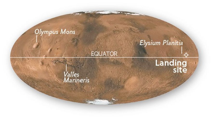 InSight has touched down at Elysium Planitia, near the Martian equator.