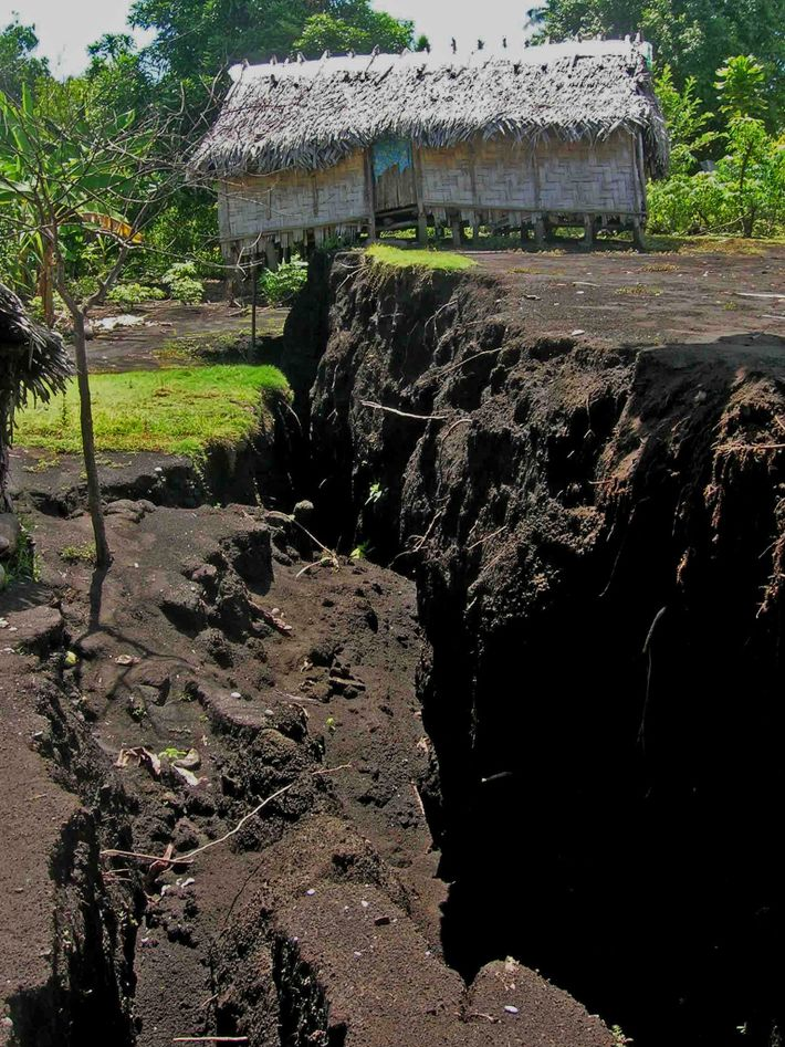 As magma squeezed through the subsurface during Ambrym's 2018 eruption, it caused the landscape above to ...