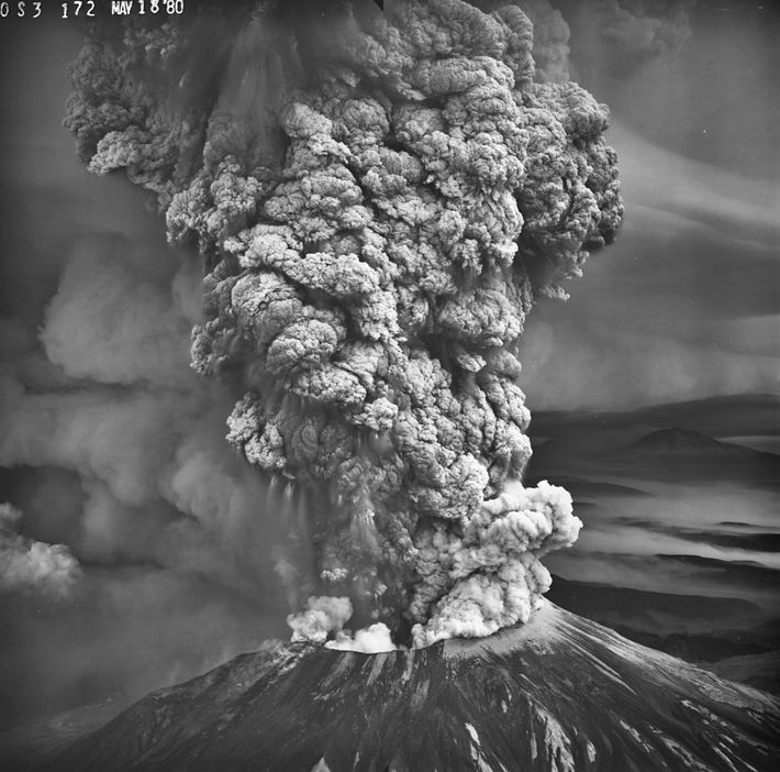 A column of searing ash and gas rises from Mount St. Helens on May 18, 1980, ...