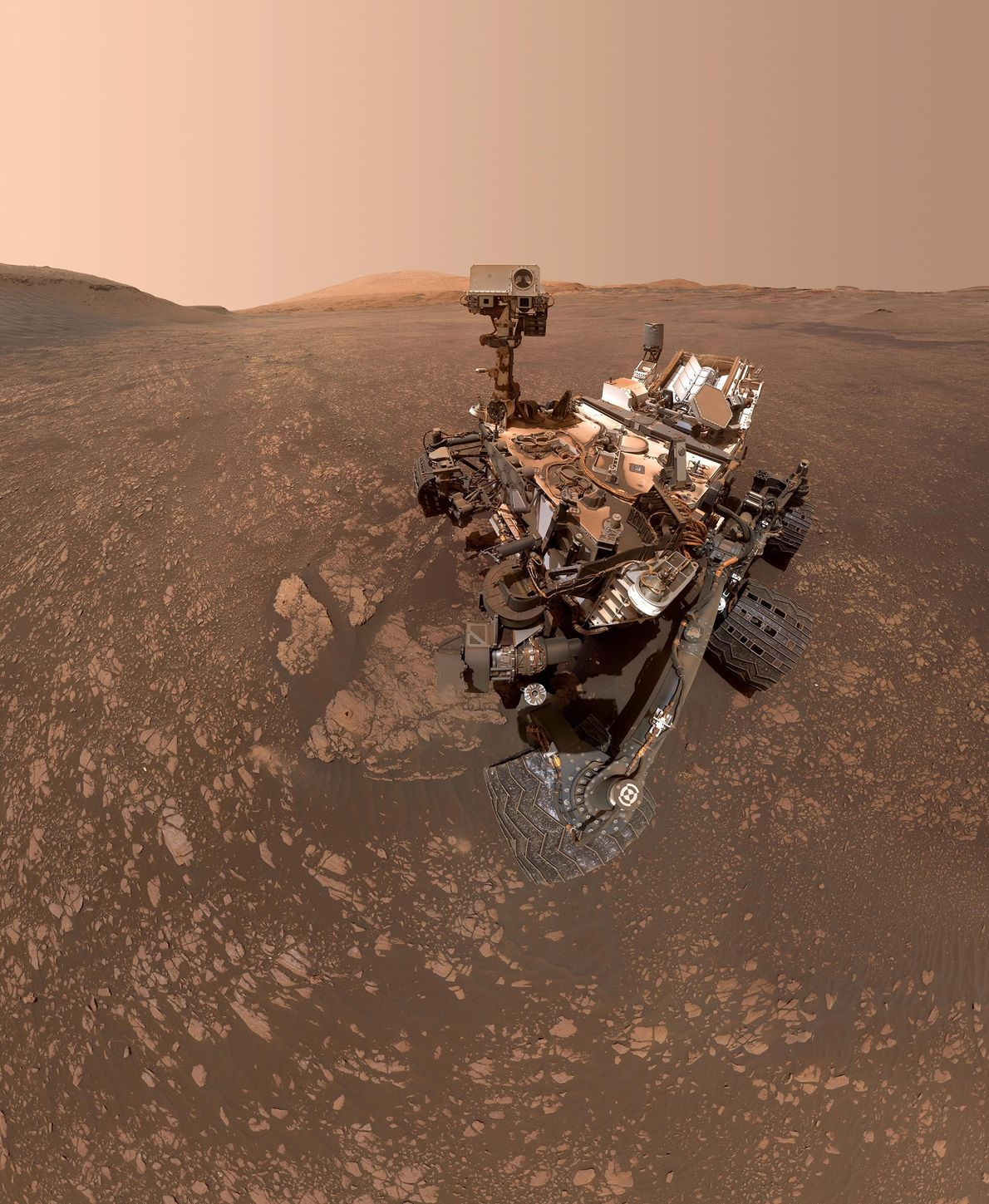 NASA's Curiosity Mars rover took this selfie on May 12, 2019. The selfie is made up ...