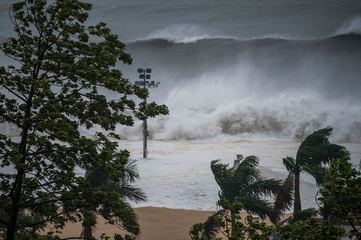 Enormous waves from a tidal bore surge past the coast in Shenzhen City in south China's ...