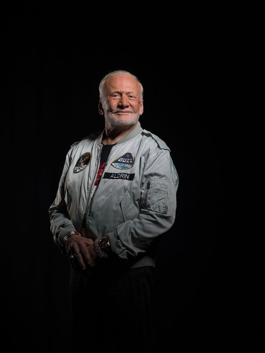 Aldrin, photographed at National Geographic headquarters in Washington, D.C., believes that within two decades America will ...
