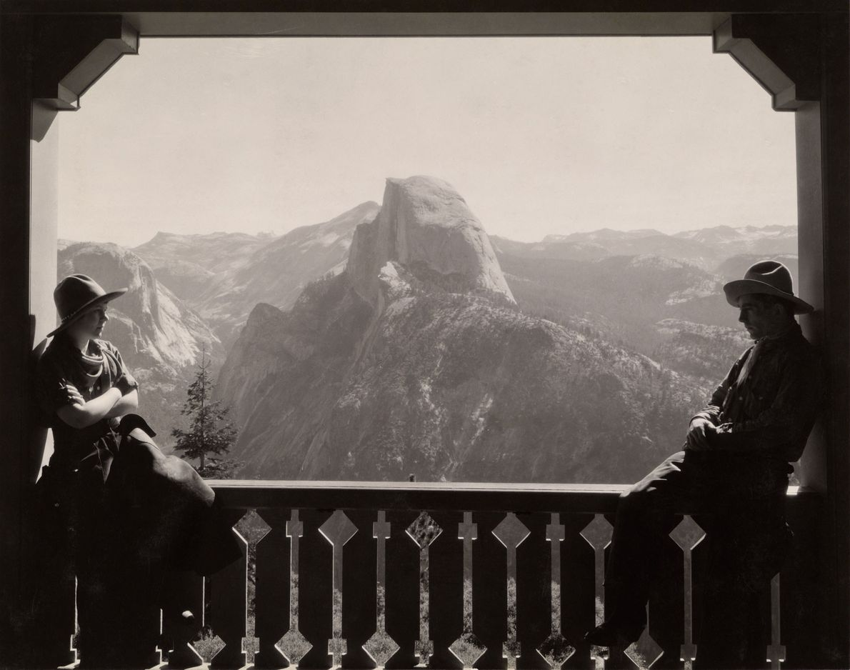 Half Dome as seen from the Glacier Point Hotel in 1933. The hotel, finished in 1917, ...