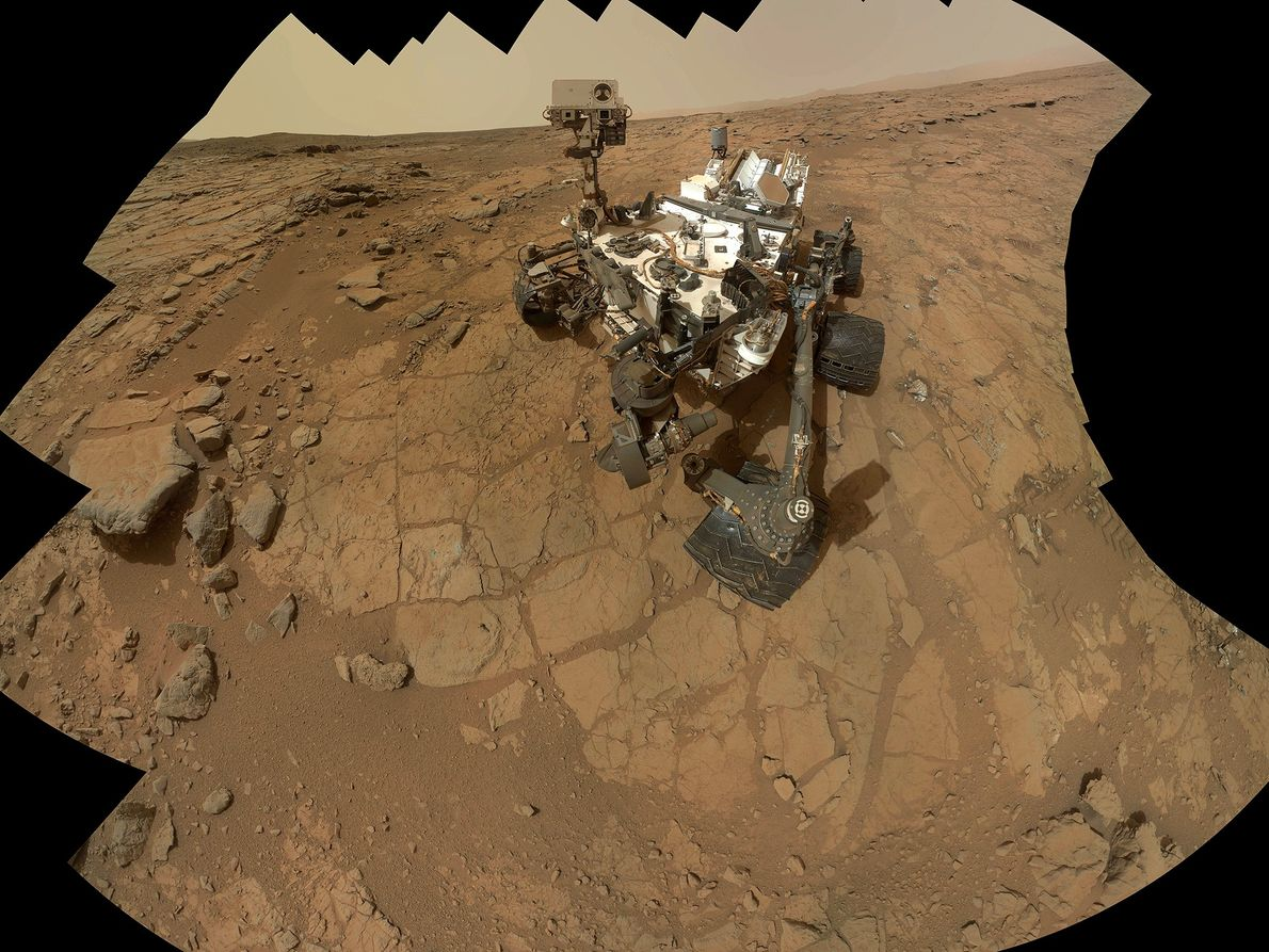 NASA's Curiosity rover takes a mosaic self-portrait. The rover has uncovered signs of an ancient freshwater ...